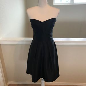 LBD - Black Strapless Pleated Dress - Size M